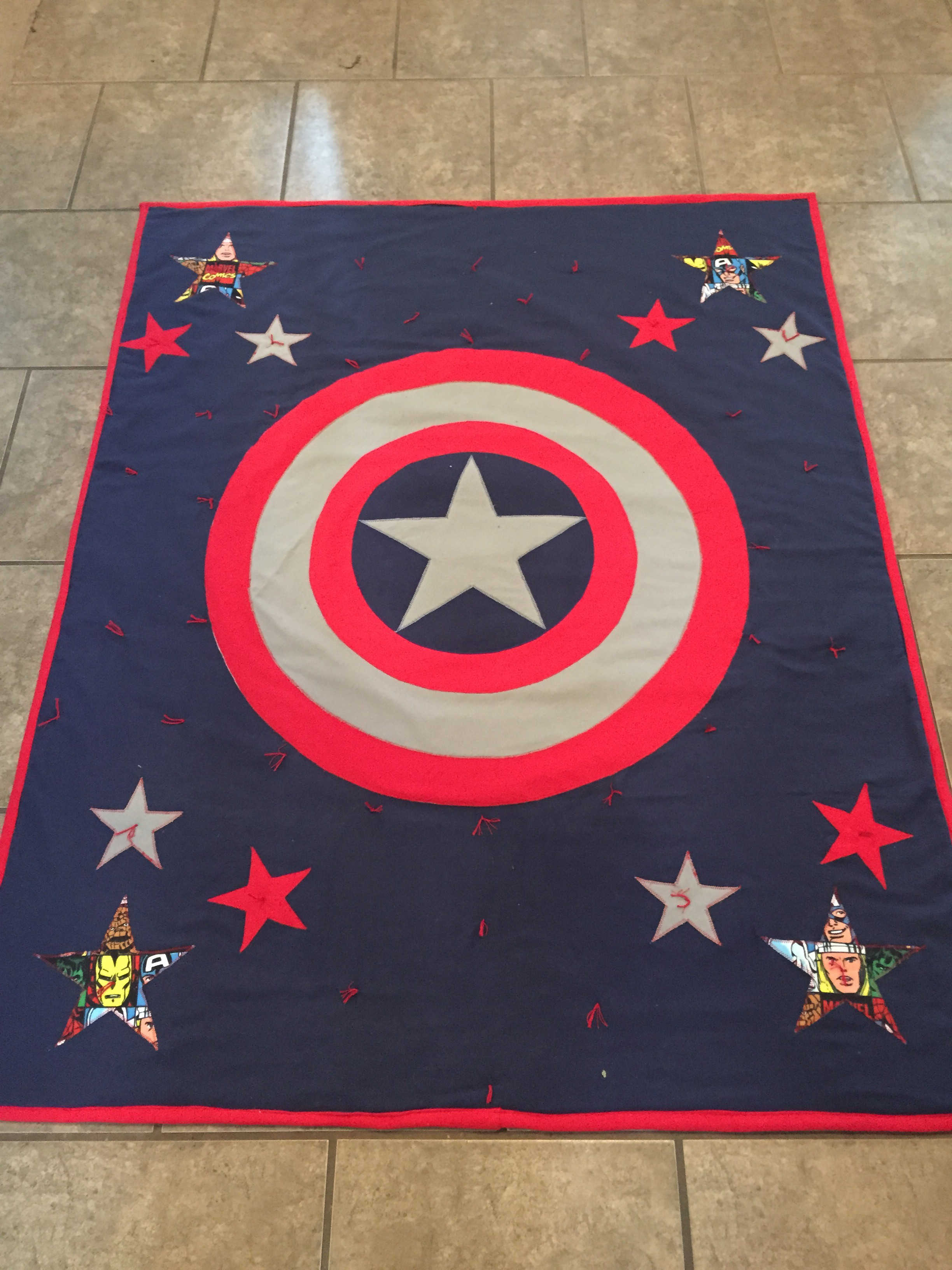 Marvel/Captain America Inspired Applique Quilt – Part II – Rockin ... : marvel quilt - Adamdwight.com