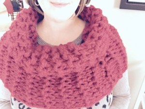 Claret Outlander Cowl over arms